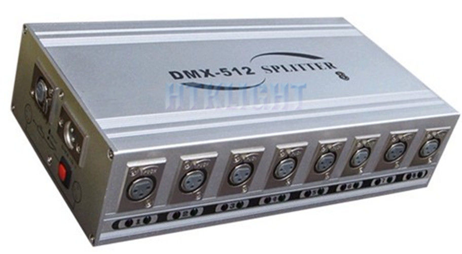 8 Outputs DMX Signal Splitter , Dmx Amplifier Splitter Wall Mount / Desk Top Installation
